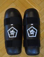 Bőr lábszárvédő lábfej nélkül, fekete